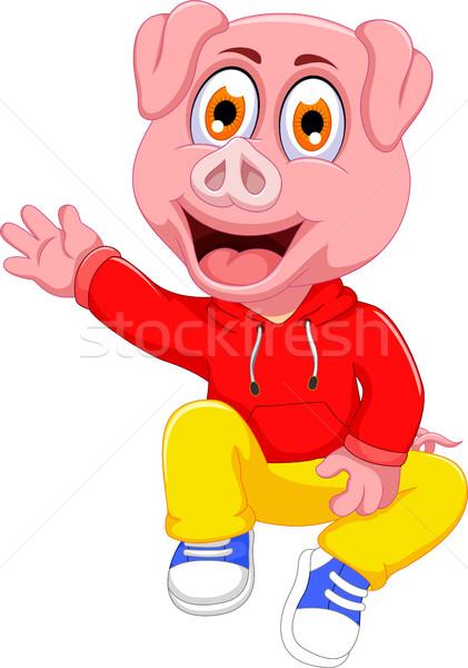 cute pig cartoon waving Stock photo © jawa123