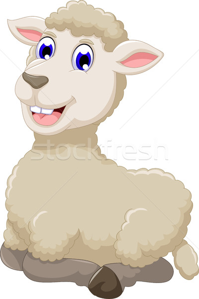cute sheep cartoon smiling Stock photo © jawa123