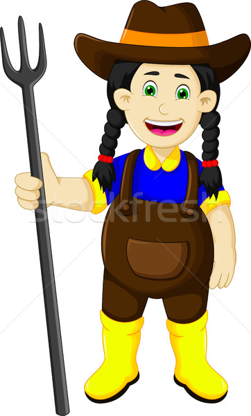 funny female farmer cartoon holding rake Stock photo © jawa123
