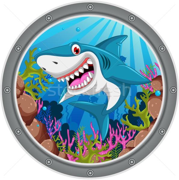Arrabbiato squalo cartoon frame pesce mare Foto d'archivio © jawa123