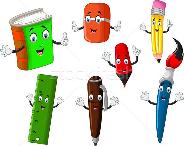 Escolas artigos de papelaria ferramenta desenho animado projeto criança Foto stock © jawa123