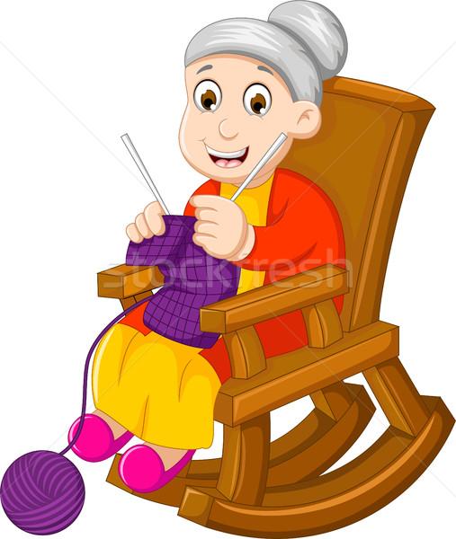 Funny babcia cartoon bujane kobieta Zdjęcia stock © jawa123