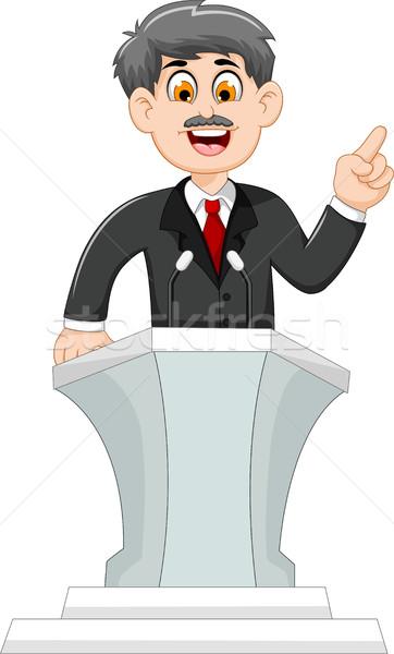 cute cartoon politician speaking behind the podium Stock photo © jawa123