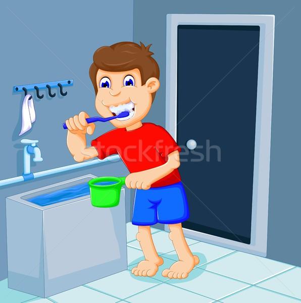 Aranyos fiú rajz fogmosás fürdőkád szoba Stock fotó © jawa123