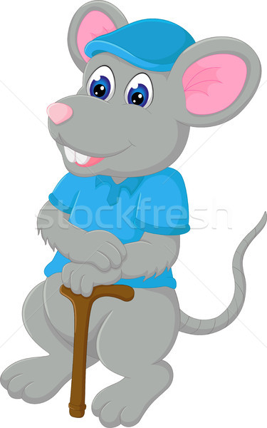 funny mouse cartoon standing bring stick with smile Stock photo © jawa123