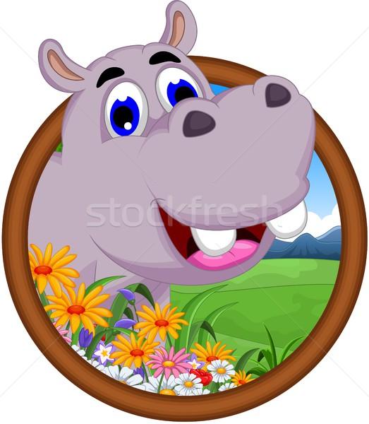 гиппопотам Cartoon кадр цветы счастливым пейзаж Сток-фото © jawa123