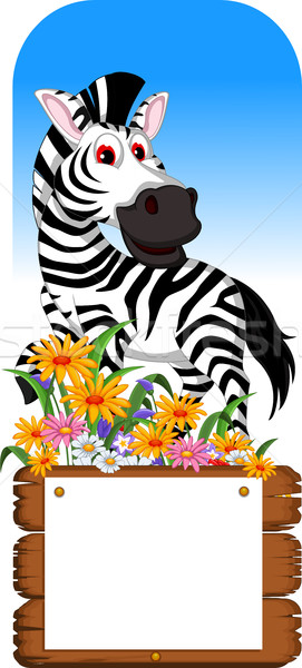 funny zebra cartoon posing with blank board Stock photo © jawa123
