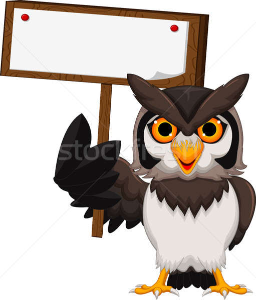 owl cartoon holding blank board Stock photo © jawa123