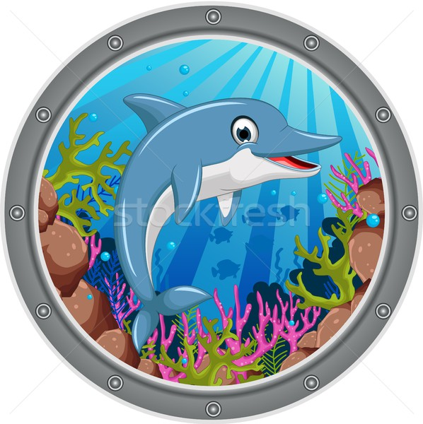 Bonitinho golfinho desenho animado saltando quadro peixe Foto stock © jawa123
