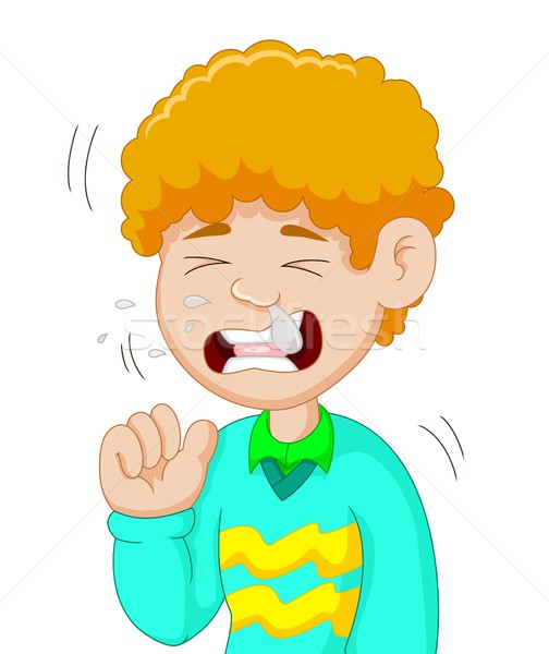 мальчика Cartoon грипп здоровья фон молодые Сток-фото © jawa123
