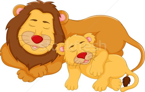 cute lion cartoon sleeping with her baby Stock photo © jawa123