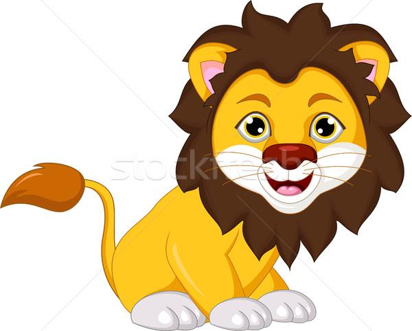 Cute lion cartoon souriant Afrique africaine Photo stock © jawa123