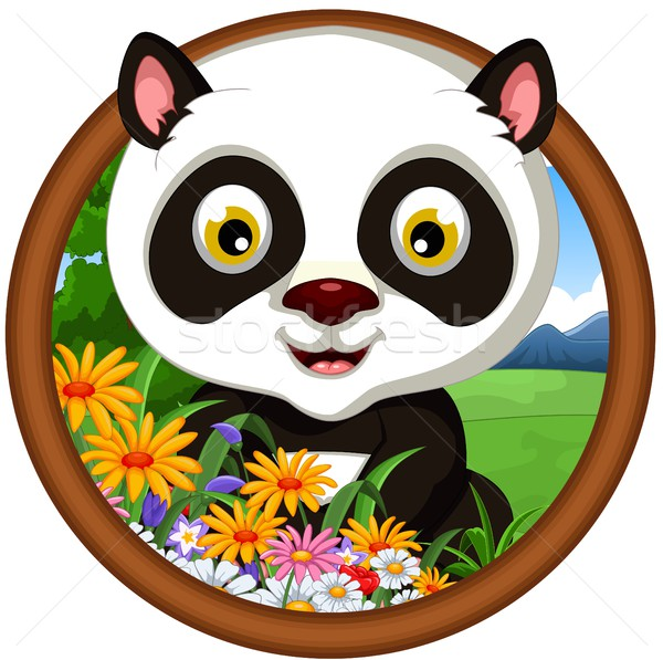 Panda cartoon frame berg springen zwarte Stockfoto © jawa123
