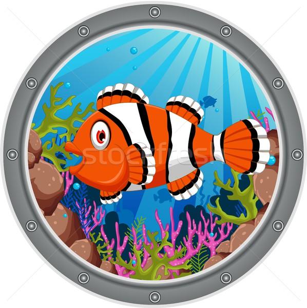 Сток-фото: Cute · клоуна · рыбы · Cartoon · кадр · воды