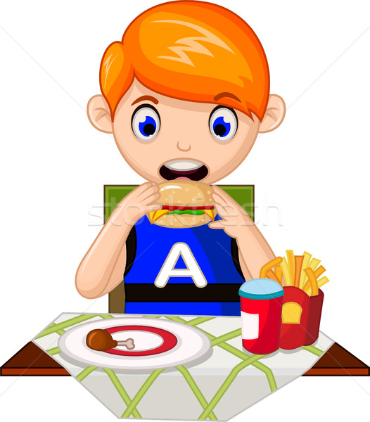 Illustration of a young boy eating in a fastfood restaurant Stock photo © jawa123