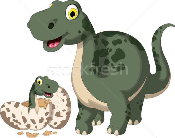 Cute dinosaurus cartoon baby glimlach lichaam Stockfoto © jawa123