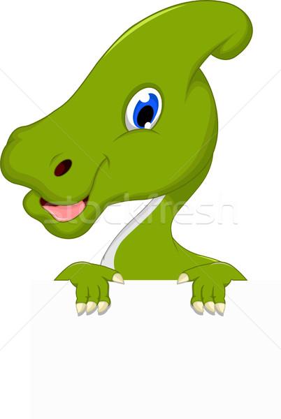 Dinoszaurusz rajz üres tábla mosoly könyv boldog Stock fotó © jawa123