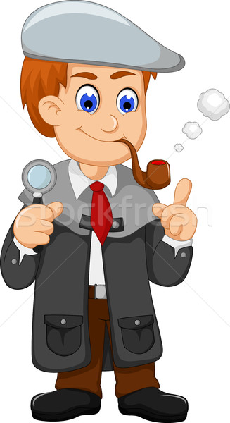 cute detective cartoon smooking with magnifying glass Stock photo © jawa123