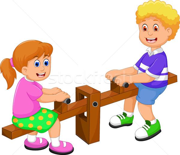 funny two kids cartoon playing see saw Stock photo © jawa123