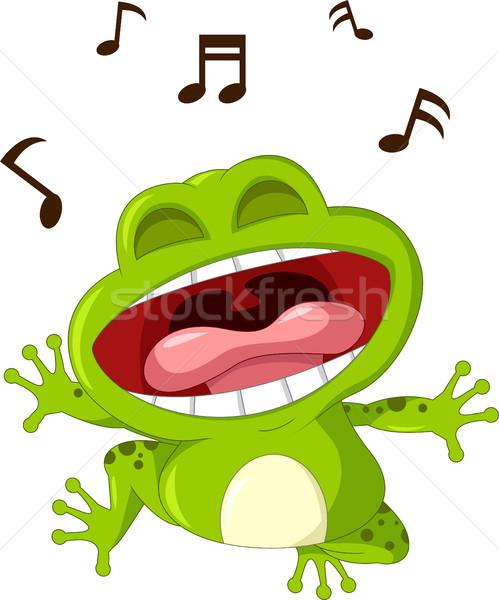 Funny rana Cartoon cantando música naturaleza Foto stock © jawa123
