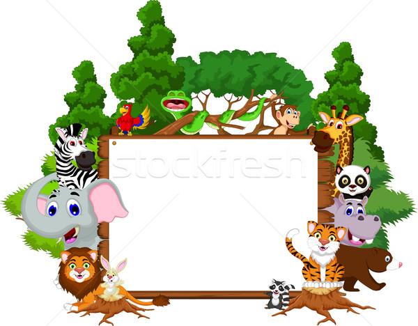 Cute animales Cartoon colección bordo tropicales Foto stock © jawa123