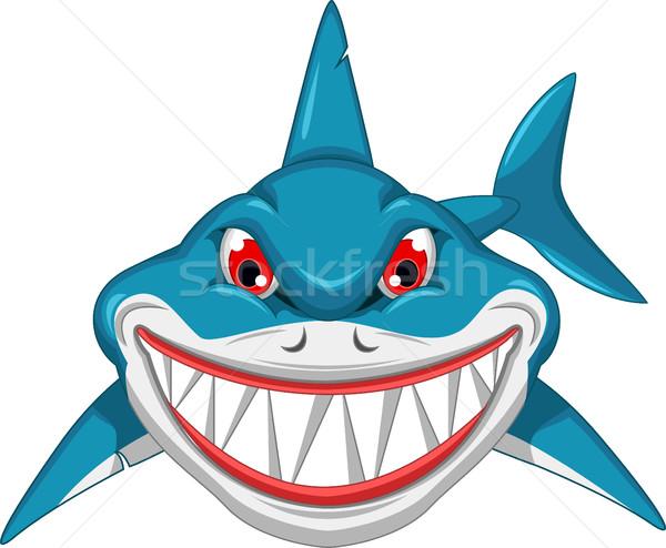 Zangado tubarão desenho animado projeto corpo diversão Foto stock © jawa123