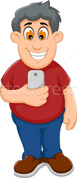 Funny grubas cartoon gry telefonu komórkowego działalności Zdjęcia stock © jawa123
