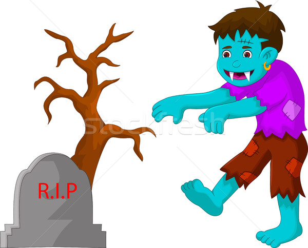 cartoon zombie walking in cemetery Stock photo © jawa123