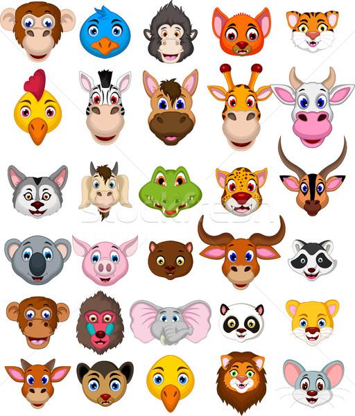 Сток-фото: большой · животного · голову · Cartoon · коллекция · кошки