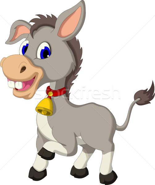 Cute ezel cartoon poseren gezicht gelukkig Stockfoto © jawa123