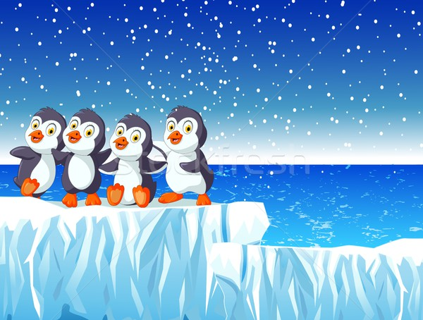 Stock photo: funny four penguin cartoon with snow mountain landscape background