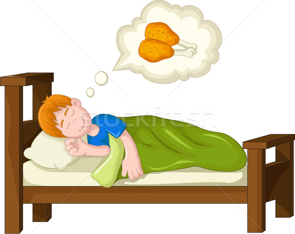 boy cartoon sleeping and dream fried chicken Stock photo © jawa123