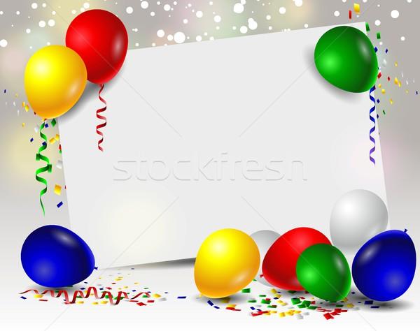 Születésnapi üdvözlet színes léggömbök buli gyerekek absztrakt Stock fotó © jawa123