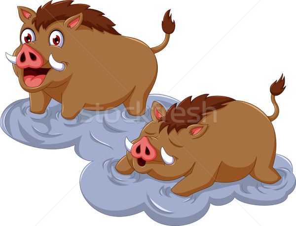 funny wild boar cartoon sitting with her baby Stock photo © jawa123