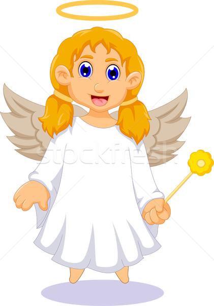 Aranyos angyal rajz terv iskola boldog Stock fotó © jawa123