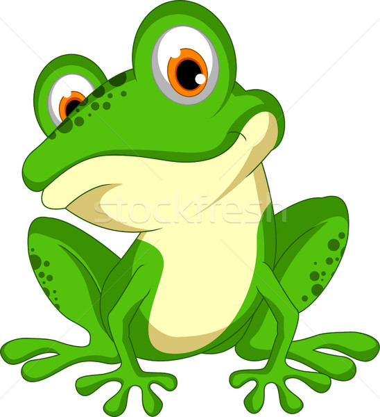 Stock photo: funny Green frog cartoon sitting