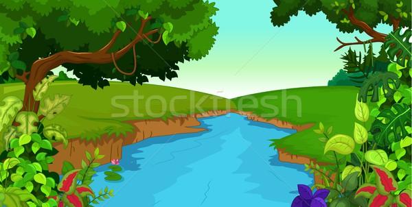 Stock fotó: Erdő · folyó · égbolt · fű · természet · fák