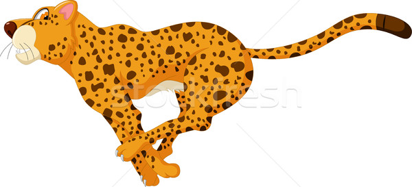 Cute cheetah cartoon lopen familie baby Stockfoto © jawa123