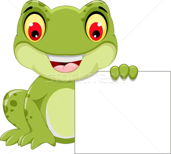 funny frog cartoon holding a blank sign Stock photo © jawa123