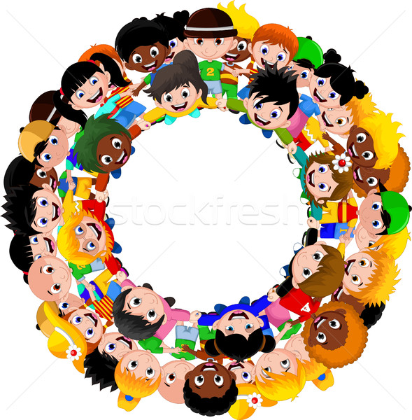 Stock photo: Circle of happy children of different races