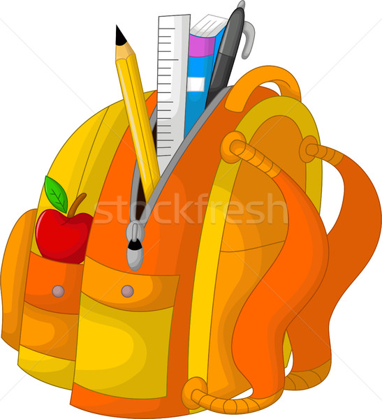 cute stationary on the bag with apple Stock photo © jawa123