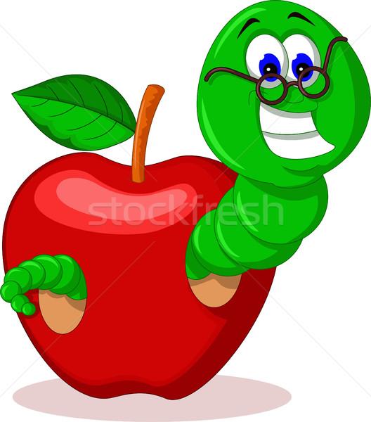 Stockfoto: Rups · appel · kinderen · boeken · school · ogen