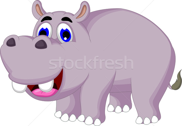 funny hippo cartoon posing Stock photo © jawa123