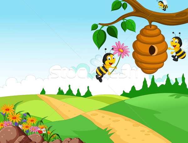Bees cartoon holding flower and a beehive with forest background Stock photo © jawa123
