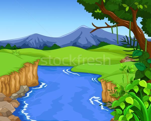 зеленый лес дизайна реке небе трава Сток-фото © jawa123