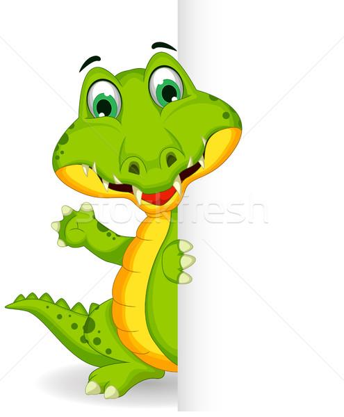 Vicces krokodil rajz pózol üres tábla felirat Stock fotó © jawa123