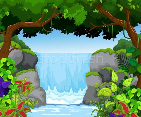 waterfall with landscape view background Stock photo © jawa123