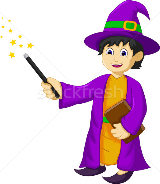 funny witch cartoon holding book and magic stick Stock photo © jawa123