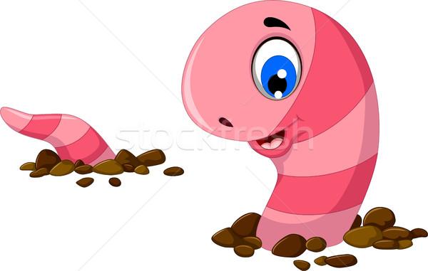 funny worm cartoon on the sand Stock photo © jawa123