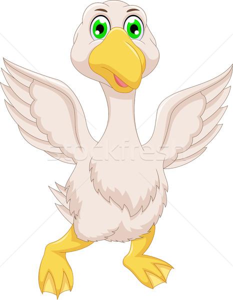 cute goose cartoon flying Stock photo © jawa123